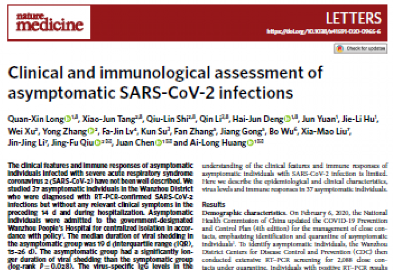 Long QX et al. 2020 Clinical and immunological assessment of asymptomatic SARS-CoV-2 infections