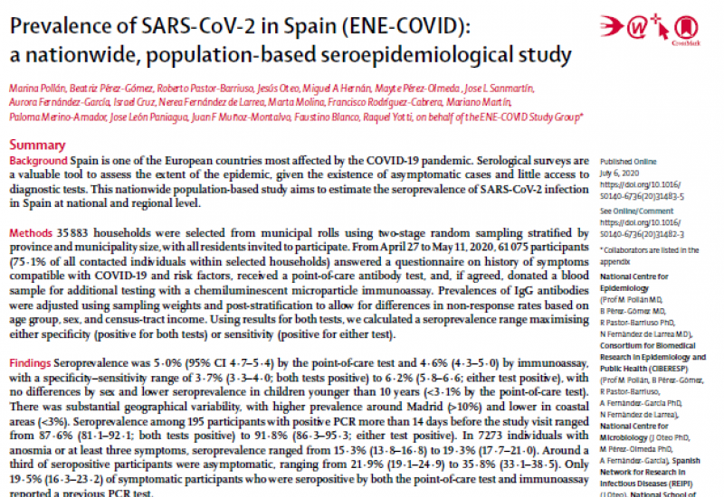 Pollán et al. (2020). Prevalence of SARS-CoV-2 in Spain