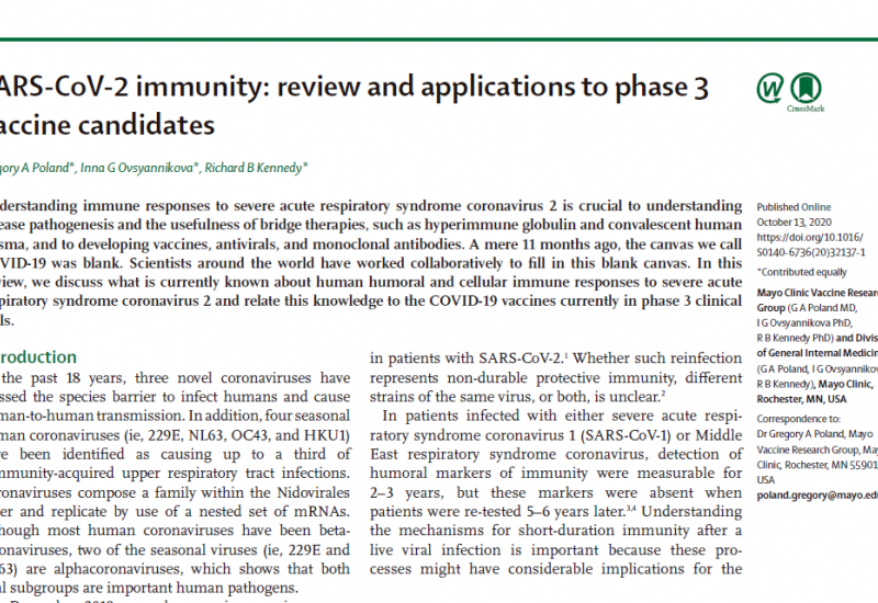 SARS-CoV-2 immunity: review and applications to phase 3 vaccine candidates