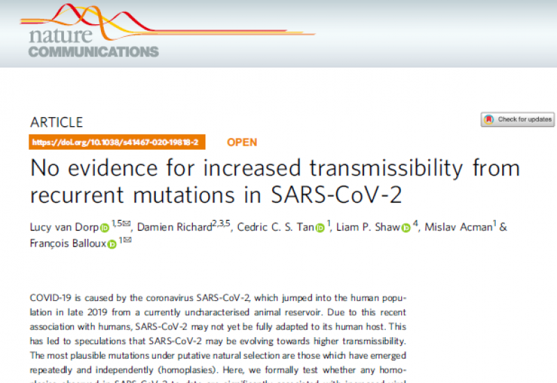 Van Dorp L et al. (2020). No evidence for increased transmissibility from recurrent mutations in SARS-CoV-2