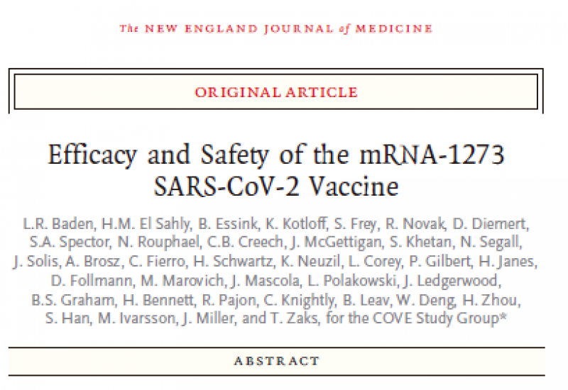 Baden et al. (2020). Efficacy and Safety of the mRNA-1273 SARS-CoV-2 Vaccine
